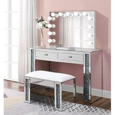 Everly Alday Glam Diamonds Makeup Station Vanity Set with Mirror Quinn
