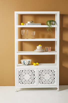 Anthropologie Handcarved Lombok Shelving Unit By in White Size ALL