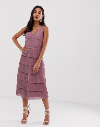 Little Mistress v neck all over lace midi dress-Pink