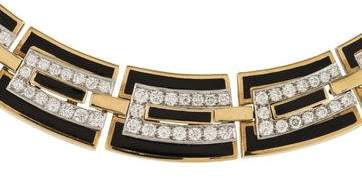 David Webb Two Tone Diamond & Enamel Collar Necklace