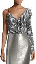 Diane von Furstenberg Floral-Print Silk Asymmetric Ruffle Blouse, Black