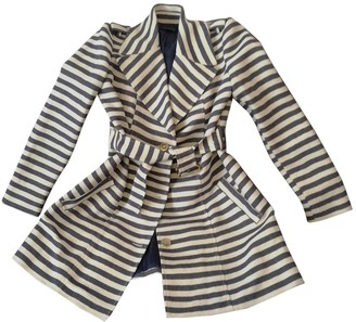 GUESS Blue Cotton Trench Coat for Women