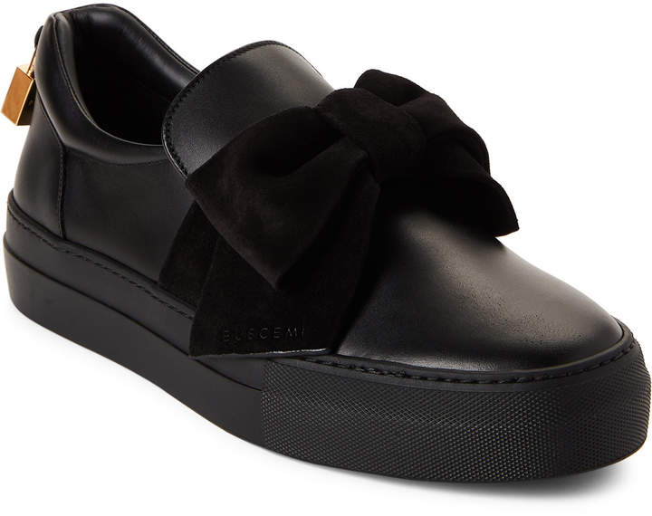 Buscemi Black Bow Leather Slip-On Sneakers