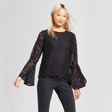Mossimo Women's Lace Bell Sleeve Blouse Black