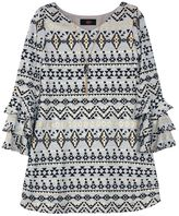 IZ Amy Byer Girls 7-16 IZ Amy Byer Foil Tribal Pattern Ruffle Sleeve Dress with Necklace