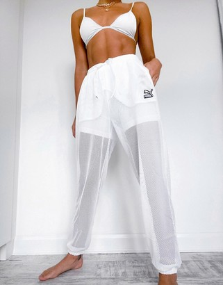 Puma high waisted wide leg mesh pants In white