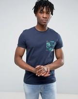 Jack Wills Eddington T-Shirt Floral Pocket Regular Fit in Navy