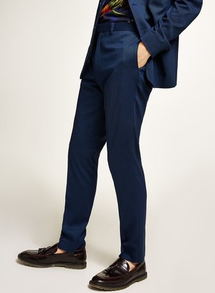 Topman Blue Textured Skinny Fit Suit Trousers
