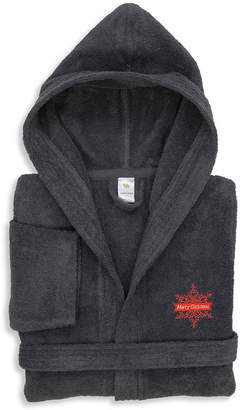 Asstd National Brand Embroidered Linum Kids 100% Turkish Cotton Hooded Unisex Terry Bathrobe - Merry Christmas