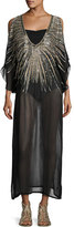 Luxe by Lisa Vogel Show Stopper Embellished Caftan Maxi Tunic, Black