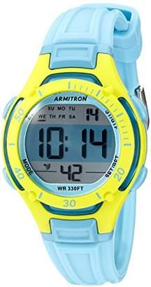 Armitron Sport Armitron Women's 45/7062BLU Lime Green Accented Digital Chronograph Light Blue Resin Strap Watch