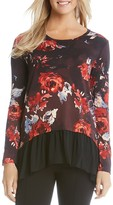 Karen Kane Painted Rose Sheer Hem Top