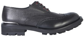 Alexander McQueen Black Embossed Leather Men's Lace-Up Derby Shoes
