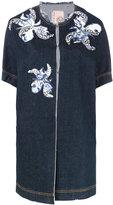 Antonio Marras floral motif patches denim jacket - women - Cotton/Polyester/PVC/glass - 42