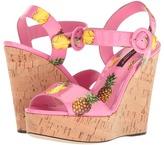 Dolce & Gabbana Patent Pineapple Print Cork Wedge 90mm Women's Wedge Shoes