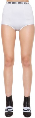 GCDS Logo Band Viscose Knit Mini Shorts