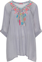 Johnny Was Plus Size Crinkled tunic with embroidery
