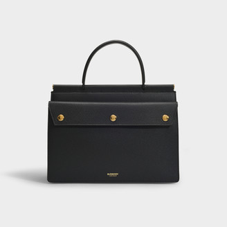 Burberry Small Title Pocket Bag In Black Grained Calfskin