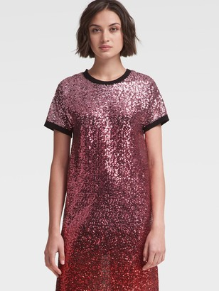 DKNY Ombre Sequined T-shirt Dress