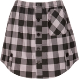 Buffalo Plaid Button Skirt