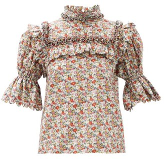 Horror Vacui Lucy Smocked Floral-print Cotton Top - Multi