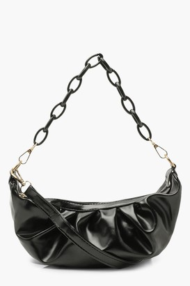 boohoo Chain Detail Rouched Under Arm Bag