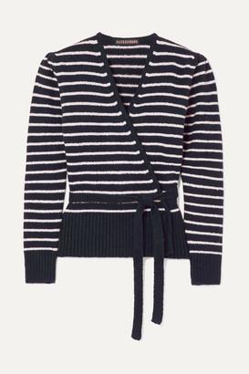 ALEXACHUNG Striped Brushed Cotton-blend Cardigan - Navy
