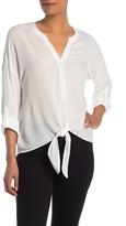 Pleione Tie Hem Button Front Shirt