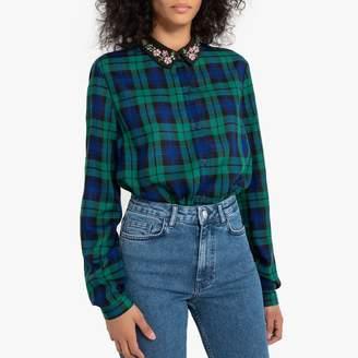 Naf Naf Long Sleeved Plaid Shirt with Patterned Collar