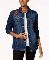 Style&Co. Style & Co Aurora Embroidered Denim Trucker Jacket, Created for Macy's