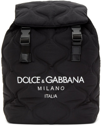 Dolce & Gabbana Black and White Quilted Logo Backpack