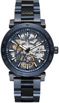 Michael Kors Men's Navy Stainless Steel and Black Carbon Fiber Bracelet Watch 43mm MK9036