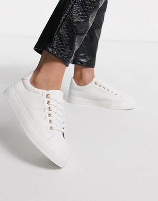 Topshop lace up sneakers in white