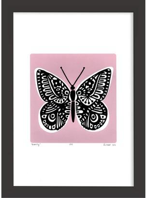 Lu West Butterfly Print in Powder Pink