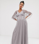 Asos DESIGN Maternity flutter sleeve maxi dress in embroidered mesh