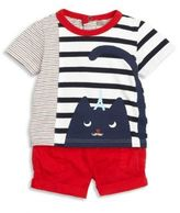 Catimini Baby's Two-Piece Striped Tee & Solid Shorts Set