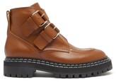 Thumbnail for your product : Proenza Schouler Double-buckled Leather Ankle Boots - Tan