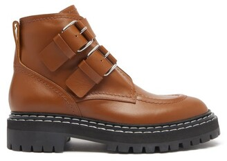 Proenza Schouler Double-buckled Leather Ankle Boots - Tan