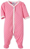 Petit Bateau Flower Print Front Snap Footie (Baby) - Pink/White-9 Months