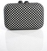 Kotur Black White Canvas Netted Silver Tone Chain Strap Small Clutch Handbag