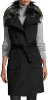 French Connection Belted Long Vest Coat w/ Removable Faux-Fur Collar, Black