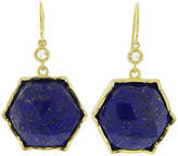 Irene Neuwirth Large Rose Cut Lapis Hexagonal Earrings - Yellow Gold