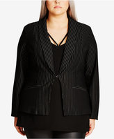 City Chic Trendy Plus Size Pinstripe Jacket