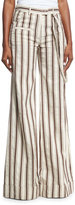 Rosie Assoulin Striped Linen B-Boy Pants, Brown Pattern