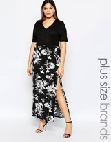 Club L Plus Maxi Dress With V Neck And Floral Printed Skirt