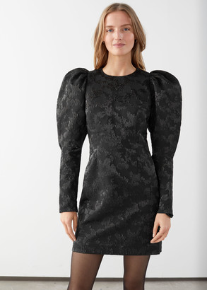 And other stories Puff Sleeve Mini Jacquard Dress