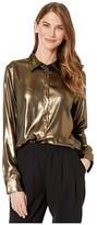 Lauren Ralph Lauren Petite Metallic Satin Shirt (Gold/Black) Women's Clothing