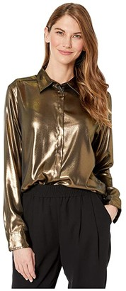 Lauren Ralph Lauren Petite Metallic Satin Shirt (Gold/Black) Women's Clothing