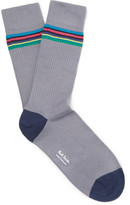 Paul Smith Striped Stretch Cotton-blend Socks - Gray