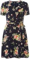 Dorothy Perkins Navy Floral Wrap Tea Dress